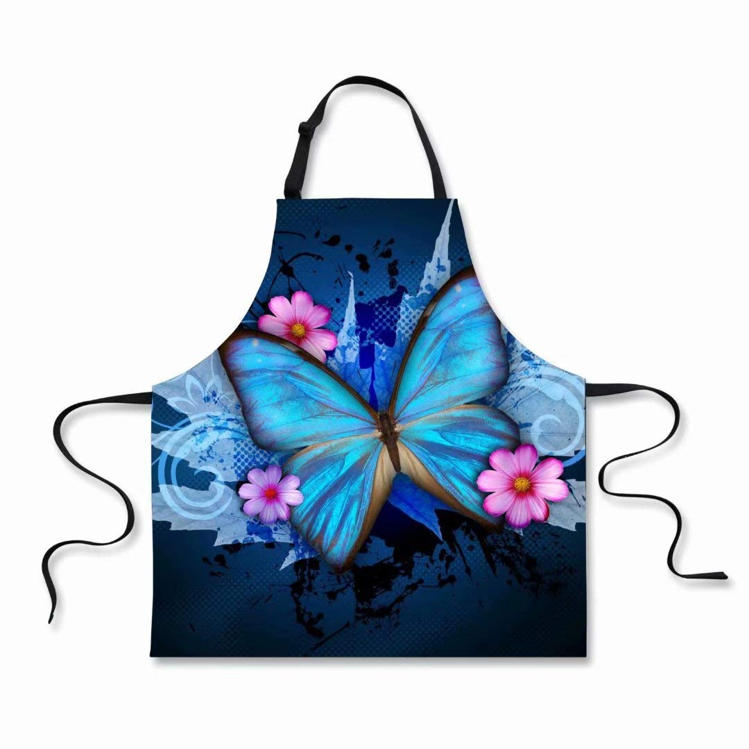 """Dellukee Funny Apron for Women Men Cute Butterfly Printed Kitchen Adjustable Neck Unique Cool Waterproof Aprons for Home Restaurant BBQ Grill, 29.5"""" x 26.3"""""""