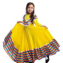 Girls Mexican Dress, Cinco de Mayo Mexican Fiesta Costume Long Dancing Dress for Carnival Festival Birthday Party
