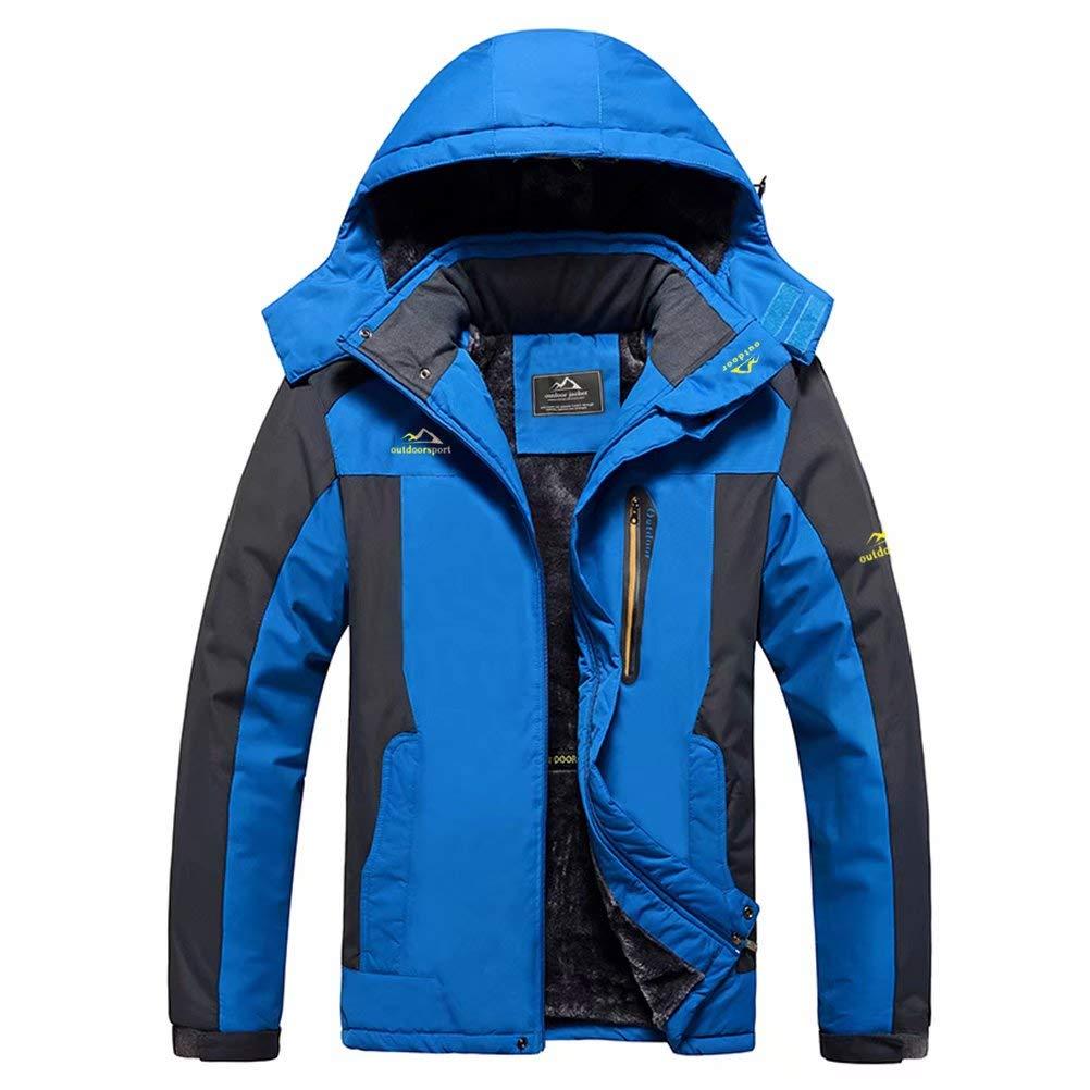 MAGCOMSEN Men's Winter Coat Ski Jacket Waterproof Fleece Lined Windproof Warm Snow Jacket With Hood 4 Pockets