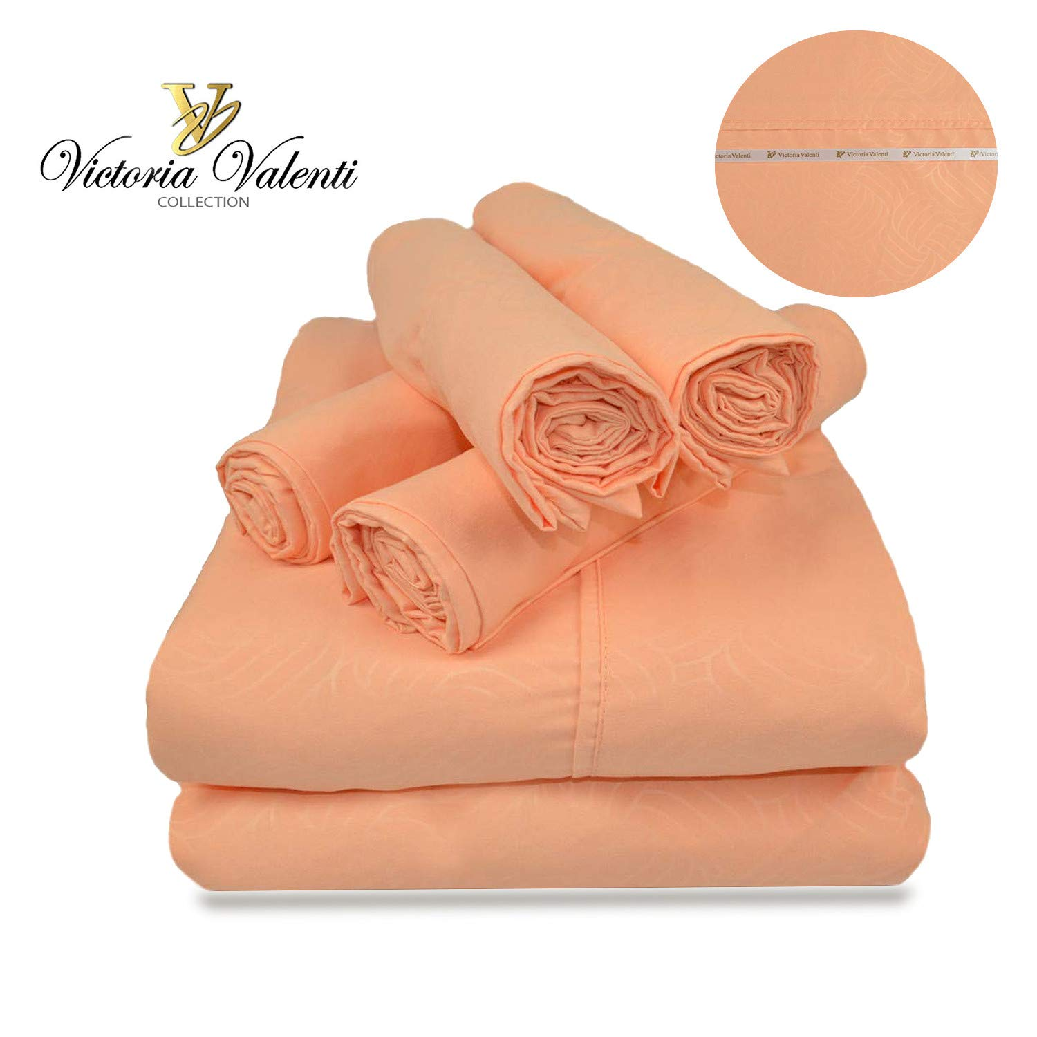 Victoria Valenti Embossed Sheet Set with 4 Pillow Cases, Double Brushed and Ultra Soft with Deep Pockets for Extra Deep Mattress, Microfiber, Hypoallergenic Full Coral