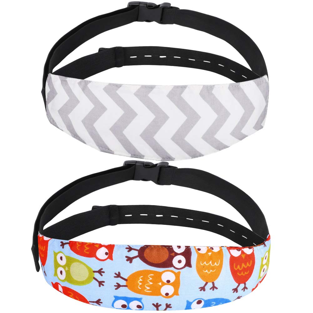 Accmor Baby Carseat Head Support Band Strap 2 Pack for Carseats Stroller Neck Relief Head Strap for Toddler Child Kids Infant, Never Slip Down Over The Neck (New Design, Blue Owl + Grey Wave)