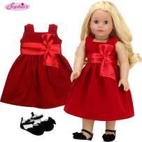 Sophia's 18 Inch Doll Clothes Special Occassion Doll Dress   Red Velvet Holiday Girl Doll Dress & Black Velvet Shoes Perfect for American Dolls & More!