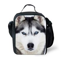 Dellukee Unique Lunch Bag Husky Print Soft Adjustable Shoulder Strap Durable Handbag Tote Bag Reusable Insulated Lunch Box With Zipper For Boys Girls
