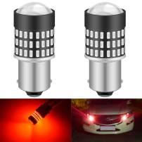 KATUR 1156 BA15S 7506 1073 1095 1141 Led Light Bulb Super Bright 900 Lumens High Power 3014 78SMD Lens LED Bulbs for Brake Turn Signal Tail Backup Reverse Brake Light Lamp,Brilliant Red(Pack of 2)