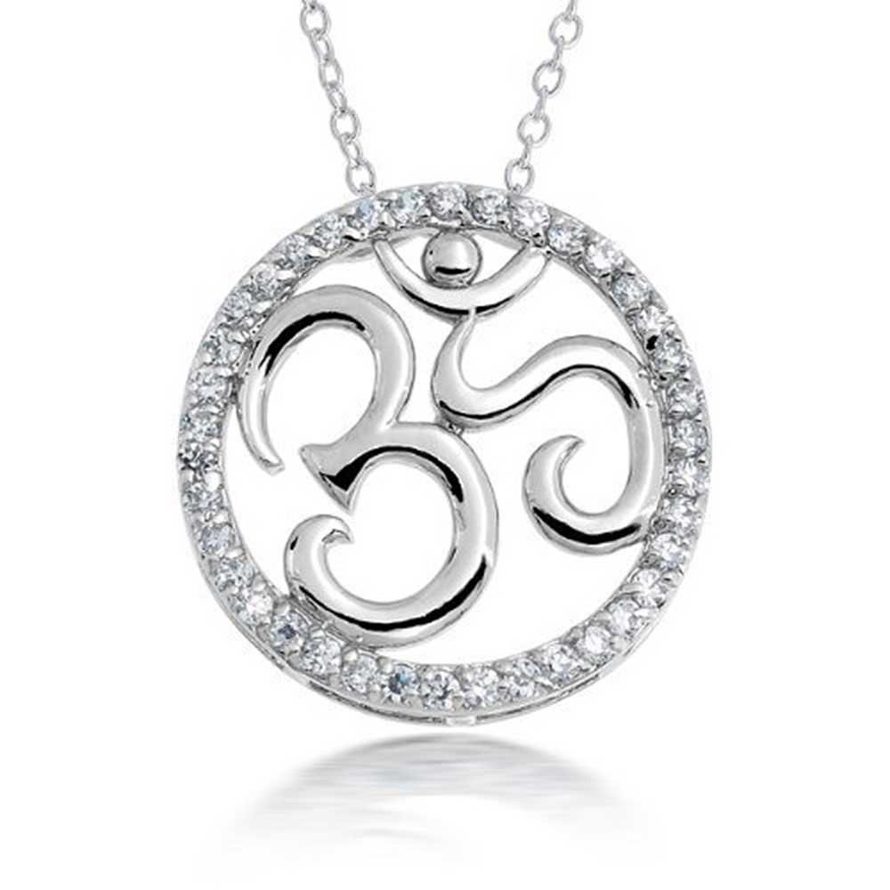 Bling Jewelry Om Aum Yoga Open Medallion Pendant for Women Cubic Zirconia CZ Necklace Circle Disc Silver Plated Brass 18 Inch Chain