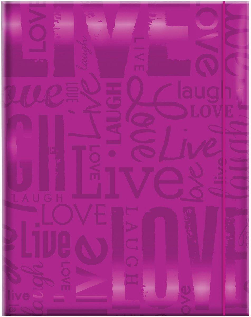 MCS 100 Pocket Big Max Embossed Live Laugh Love Album, Bright Purple (823359)