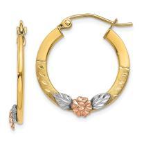 14k Yellow Rose Gold Flower Hoop Earrings Ear Hoops Set Gardening Fine Jewelry For Women Gifts For Her