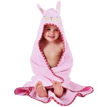 MICHLEY Animal Face Hooded Baby Towel Cotton Bathrobe for Boys Girls 0-6 Year Light Pink