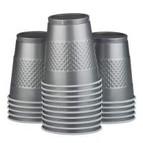JAM PAPER Plastic Party Cups - 12 oz - Silver - 20 Glasses/Pack