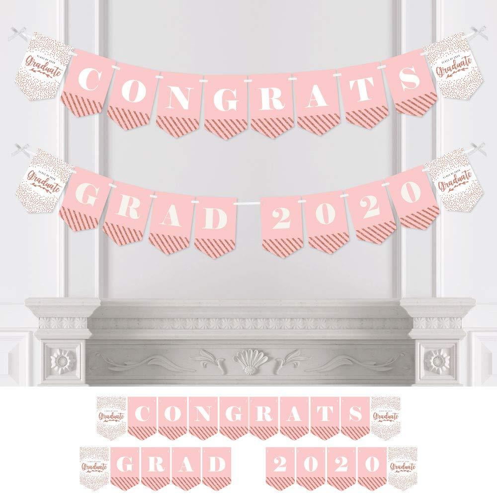 Big Dot of Happiness Rose Gold Grad - 2020 Graduation Party Bunting Banner - Party Decorations - Congrats Grad 2020