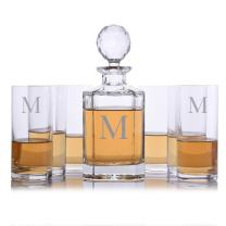 Personalized Crystalize Crystal Whiskey Liquor Decanter and 6 Crystal Highball Cocktail Glasses Engraved & Monogrammed - Perfect for Valentine's Day, Engagement or Wedding Gift