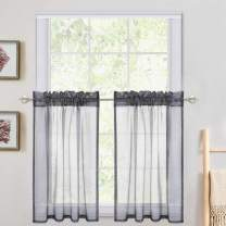 """Haperlare Sheer Curtain Tiers,Linen Look Textured Kitchen Tier Curtains Cafe Curtains, Rod Pocket Tailored Half Window Semitransparent Voile Panel Drapes - 27"""" W x 36"""" L, Grey, Set of 2"""