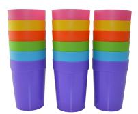18pc Bekith Reusable Break-resistant BPA-Free Plastic Cup Tumblers in 6 Assorted Colors