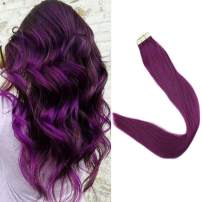 Full Shine Human Hair Tape In Hair Extensions Color #Purple Seamless Adhesive Human Hair Tape Ins 10Pcs 14 Inch Skin Weft Glue Hair Extensions Fasion Color Festival Makeup
