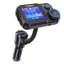 """Tecboss Bluetooth FM Transmitter for Car, 1.8"""" Color Screen Car Radio Adapter with QC3.0 & 5V/2.4A Charging, Handsfree Car Kit, MP3 Music Player, Bass Booster, Supports microSD Card, AUX-KM22"""