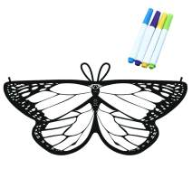 Happy Cherry Kid Girls Butterfly Wings Coloring Design Fairy Pixie Cape Party Costume, with 4 Watercolor Brush Pens
