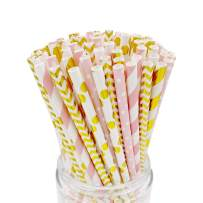 EASY ROAD 100-Pack Biodegradable Paper Straws Bulk - 5 Different Colors Pink/Gold Drinking Straws For Christmas, Party Supplies, Birthday, Wedding, Bridal/Baby Shower Decorations, Holiday Celebrations