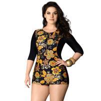 BALNEAIRE Women's Plus Size Long Sleeve Rash Guard Swimsuit, UPF 50+ One Piece Swimsuit Floral Printed