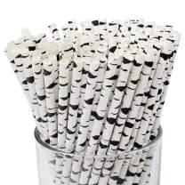Just Artifacts 200pcs Premium Biodegradable Pattern Paper Straws (Birch Branch, 200pcs)