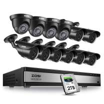 ZOSI 16CH 1080P Security Camera System- 16 Channel dvr with 12PCS Cameras & 2TB HDD for Outdoor Indoor Surveillance with Remote app 120ft Night Vision Motion Detection
