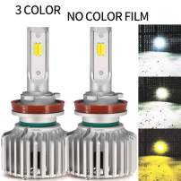 [3 Color Updated Version]H11 H8 H9 H16 LED Headlight Bulb Conversion Kit 3 Colors Pure White Warm White Yellow Single Beam 12000Lm Extremely Bright 360 Degree(Pack of 2)