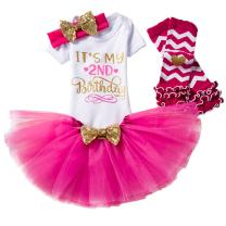 Baby Girls Half 1st 2nd Birthday Outfits Cake Smash Dress Romper+Tulle Tutu Skirt+Sequin Bow Headband+Leg Warmer Clothes Set
