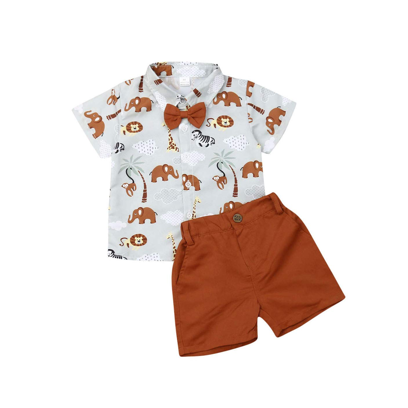 Toddler Kids Baby Boys Summer Outfits Button Down Short Sleeve Shirt Blouse Tops + Shorts Pants Playwear Gentleman Clothes