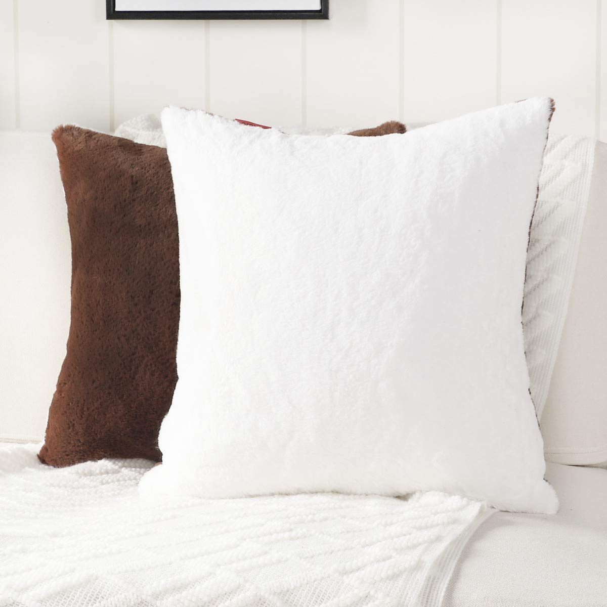 Mandioo Pack of 2 Two-Sided White and Brown Faux Soft Fur Fuzzy Cozy Decorative Throw Pillow Covers Set Cushion Cases Pillowcases for Sofa Bedroom Car 18x18 Inches