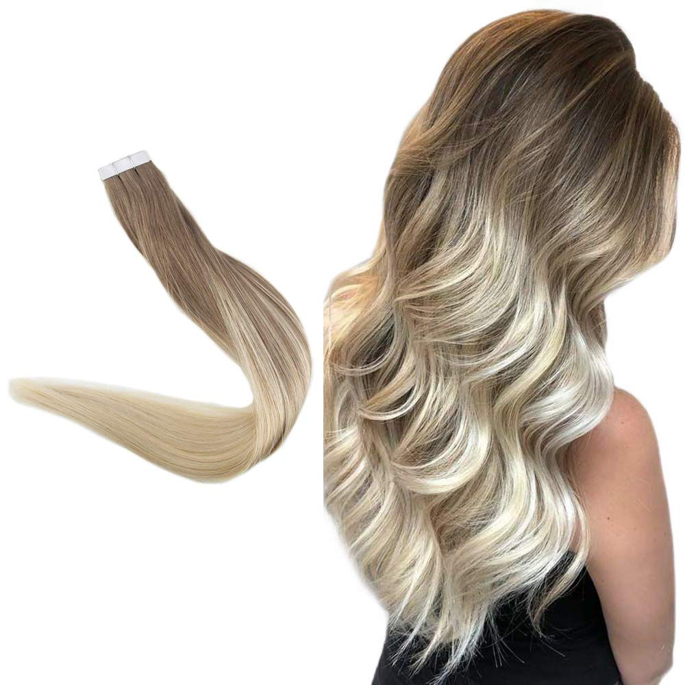 Easyouth 14inch Seamless Skin Weft Tape in Hair Extensions Glue in Hair 40g 20pcs per Pack Balayage Color 8 Ash Brown Fading to 60 Light Blonde Remy Human Hair Tape on Extensions
