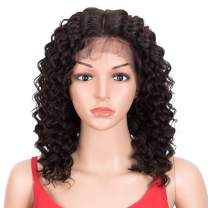 DÉBUT Lace Front Wigs Human Hair Wigs Deep Curly 10A Brazilian Virgin Remy Hair Lace Parting 180% Density Natural Black (Middle Parting, 14 inches)