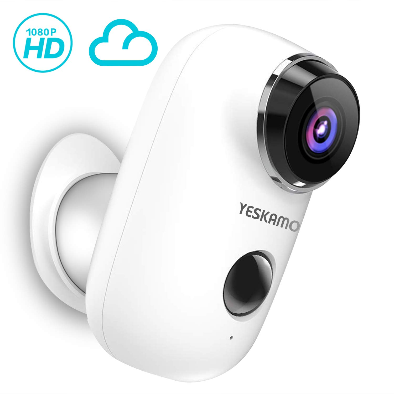 Battery Powered Security Camera Outdoor Wireless Rechargeable Battery Powered WiFi Camera,1080P HD Home Video Surveillance Camera, Wire Free IP Camera with 2 Way & Motion Detection