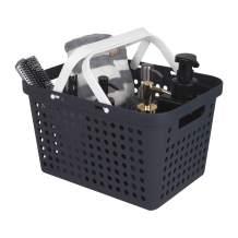 JiatuA Plastic Storage Basket with Handles, Shower Caddy Tote Portable Organizer Bins for Bathroom, Kitchen, Closet, Bedroom, Black