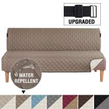 """H.VERSAILTEX Reversible Futon Slipcover Seat Width Up to 70"""" Washable Furniture Protector Water Repellent Futon Cover for Living Room 2"""" Elastic Strap Anti-Slip Futon Cover for Dogs Taupe/Beige"""