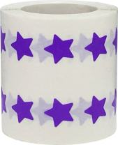 Purple Star Shape Stickers 0.50 Inch 1,000 Adhesive Labels