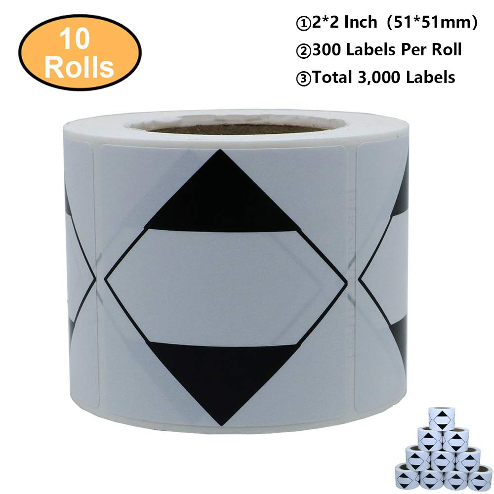 """Aleplay 2"""" x 2"""" Black White Triangle Square Labels for Limited Quantities Stickers Total 300 Labels Per Roll (10 Rolls)"""