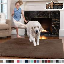 GORILLA GRIP Original Faux-Chinchilla Area Rug, 2x4 Feet, Super Soft and Cozy High Pile Washable Carpet, Modern Rugs for Floor, Luxury Shag Carpets for Home, Nursery, Bed and Living Room, Brown