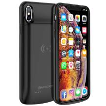 NEWDERY Upgraded iPhone Xs Max Battery Case Qi Wireless Charging, 6000mAh Extended Rechargeable Charger Case Compatible iPhone Xs Max (Black)