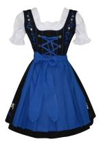 Edelweiss Creek 3-Piece German Oktoberfest Dirndl Dress, Black and Blue