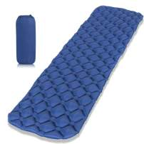 OFTEN Inflatable Mat, Ultralight Camping Mat Water Resistance Sleeping Pad with Pillow, Comfortable Ergonomic Air Cell Support + Carry Bag, for Camping, Travel, Beach, Tent, Sleep Bag, Outdoor Pad