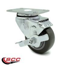"Polyurethane Swivel Top Plate Swivel Caster w/3.5"" x 1.25"" Gray Wheel & Top Locking Brake - 250 lbs Capacity/Caster - Service Caster Brand"
