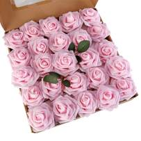 LUSHIDI Artificial Roses Flowers 25pcs Light Pink Real Looking Fake Roses w/Stem for DIY Wedding Bouquets Centerpieces Baby Shower Party Home Decor