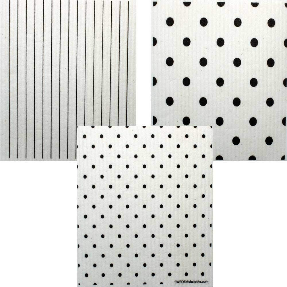 Mixed B&W Patterns Set of 3 Cloths (one of Each Design) Swedish Dishcloths | ECO Friendly Absorbent Cleaning Cloth | Reusable Cleaning Wipes