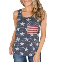 4th of July Women's American Flag Camo Tank Tops Sleeveless Stripes Patriotic T Shirts