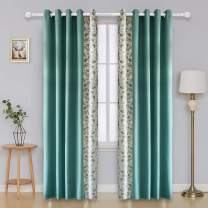 Vandesun Curtain Fresh Air Semi-Blackout Thermal Insulated Grommet Top Window Curtain for Living Room Bedroom 2 Panels (52W x 84L, Curtain Cloth)