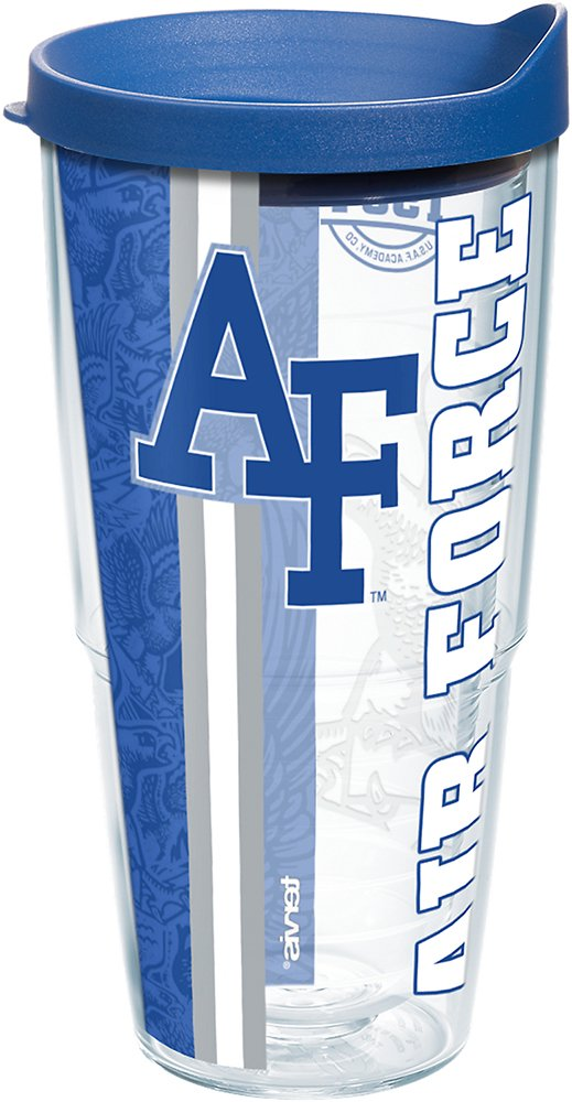 Tervis 1227062 Air Force Falcons College Pride Tumbler with Wrap and Blue Lid 24oz, Clear