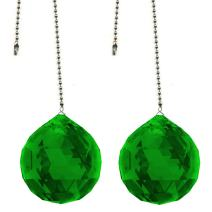 CrystalPlace Ceiling Fan Pull Chain 30mm Swarovski Strass Emerald Green Faceted Ball Prism Fan Pulley Set of 2