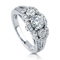 BERRICLE Rhodium Plated Sterling Silver Round Cubic Zirconia CZ 3-Stone Anniversary Engagement Split Shank Ring 1.74 CTW