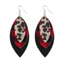 VLAWISE Buffalo Plaid Print Earrings for Women Lightweight Multilayer Sparkle Leaf Drop Dangle Earrings Layered Teardrop Faux Leather Earrings Christmas Girl Gifts