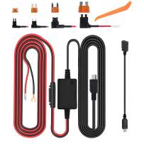 Dash Cam Hardwire Kit, Micro USB & Mini USB Hard Wire Kit Fuse for Dashcam, Dash Camera Charger Power Cord, (13ft)