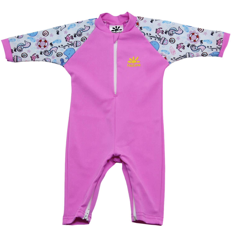 Nozone Fiji Sun Protective Baby Girl Swimsuit Fun Prints in Bahama/Pink Sea, 12-18 Months